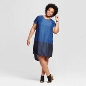 Ava & Viv Dress Denim  Lyocell  Blue Plus Sz X